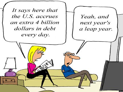 comic strip panel about the US's daily debt accrual