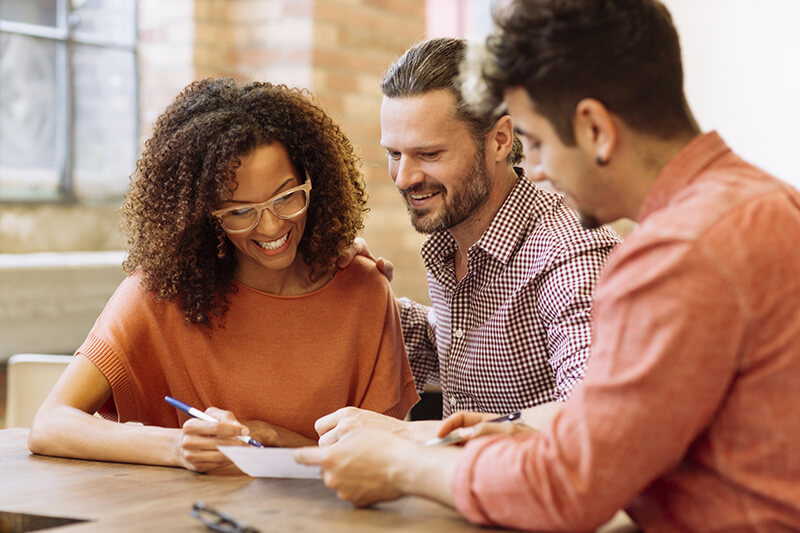 Couple looking at mortgage paperwork