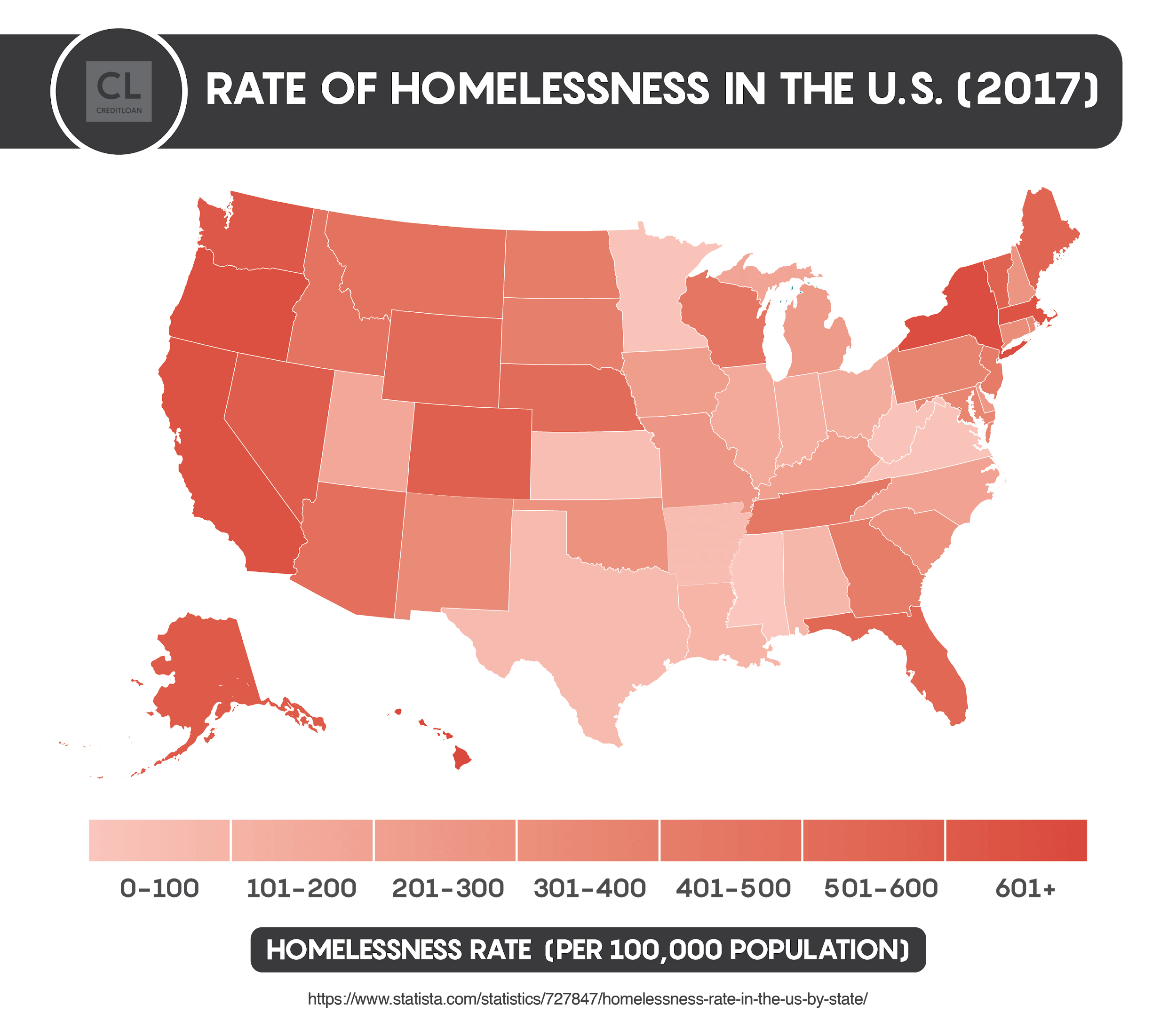 2017 Rate of Homelessness in the U.S.