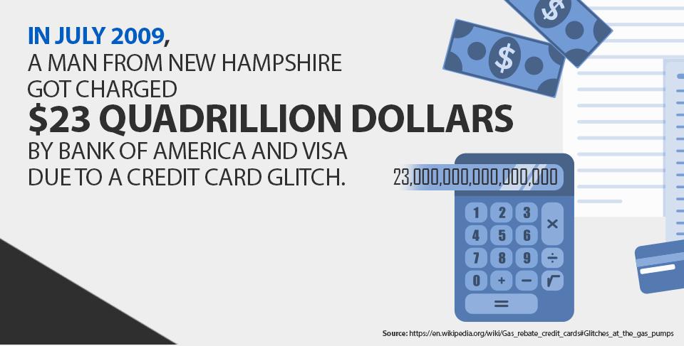 $23 quadrillion dollars credit card glitch