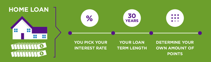 home loan - you pick your interest rate - your loan term length - determine your own amount of points