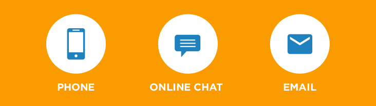 phone, online chat, email