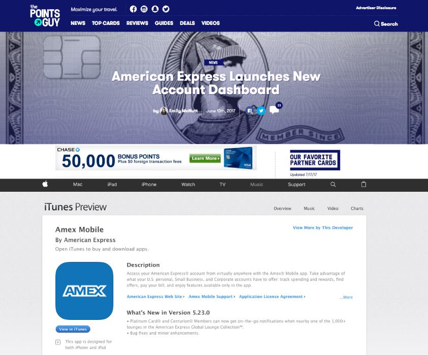 American Express screenshot