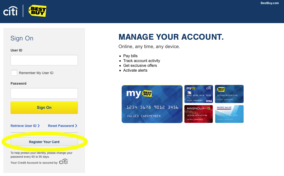 Best buy credit card review creditloan clicking that will lead you to a screen where youll need to verify your particular card information such as your name the credit card number xflitez Choice Image