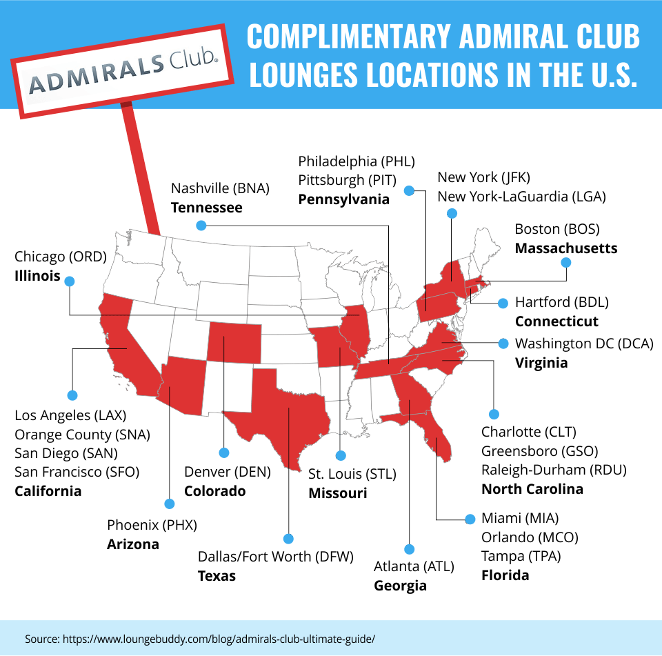 Complimentary Admiral Club Lounges Locations in the U.S.