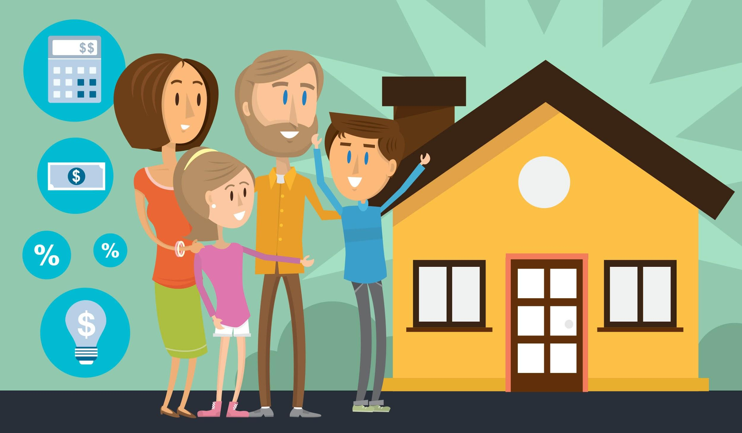Family happy in front of house illustration