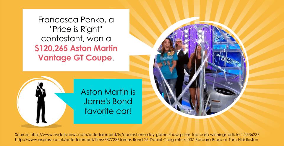 Francesca Penko won a $120,265 Aston Martin Vantage GT Coupe.