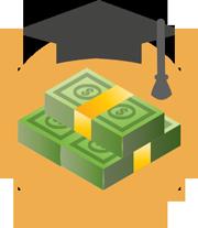 graduation cap and money icon