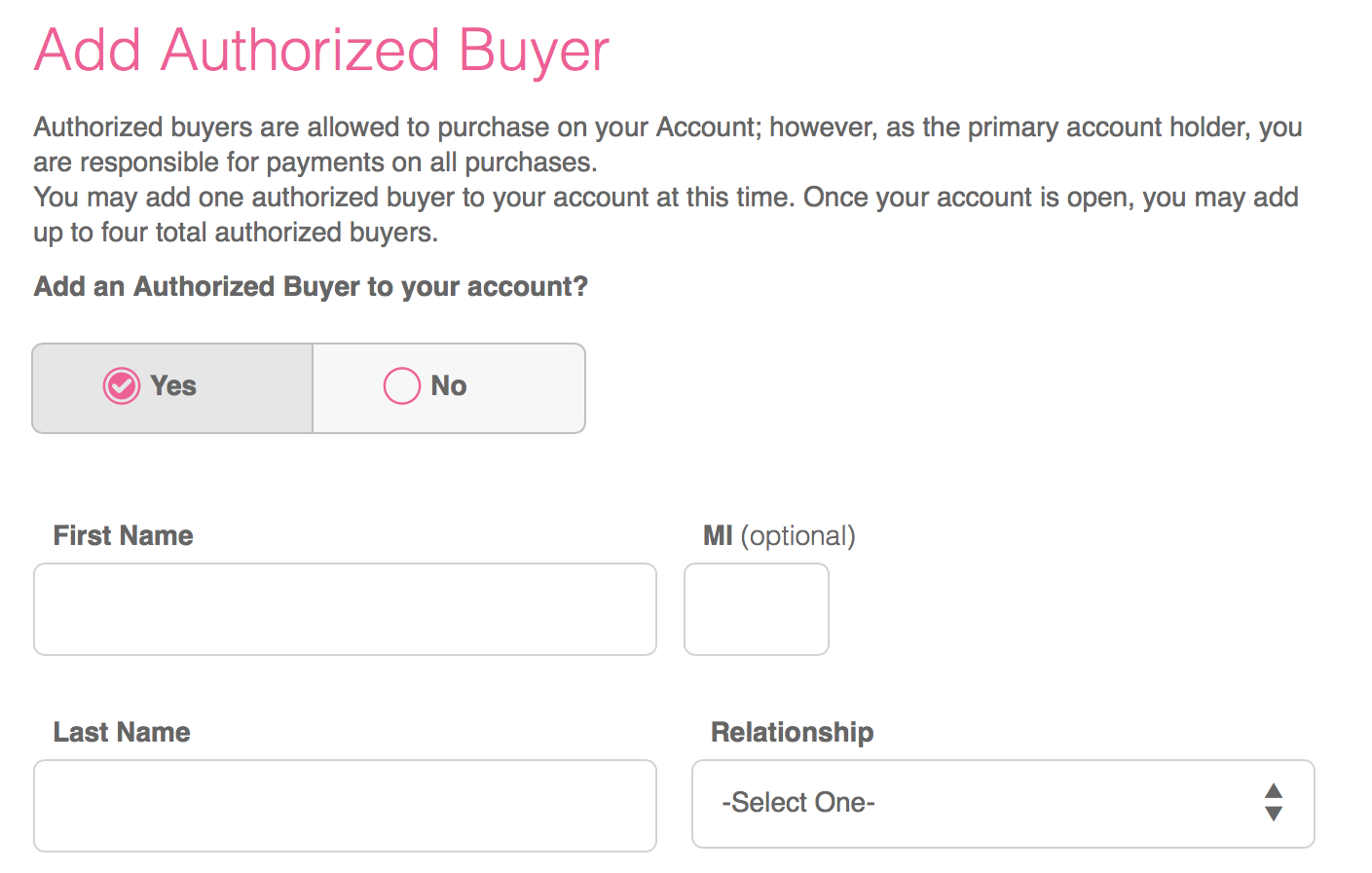 Adding An Authorized Buyer