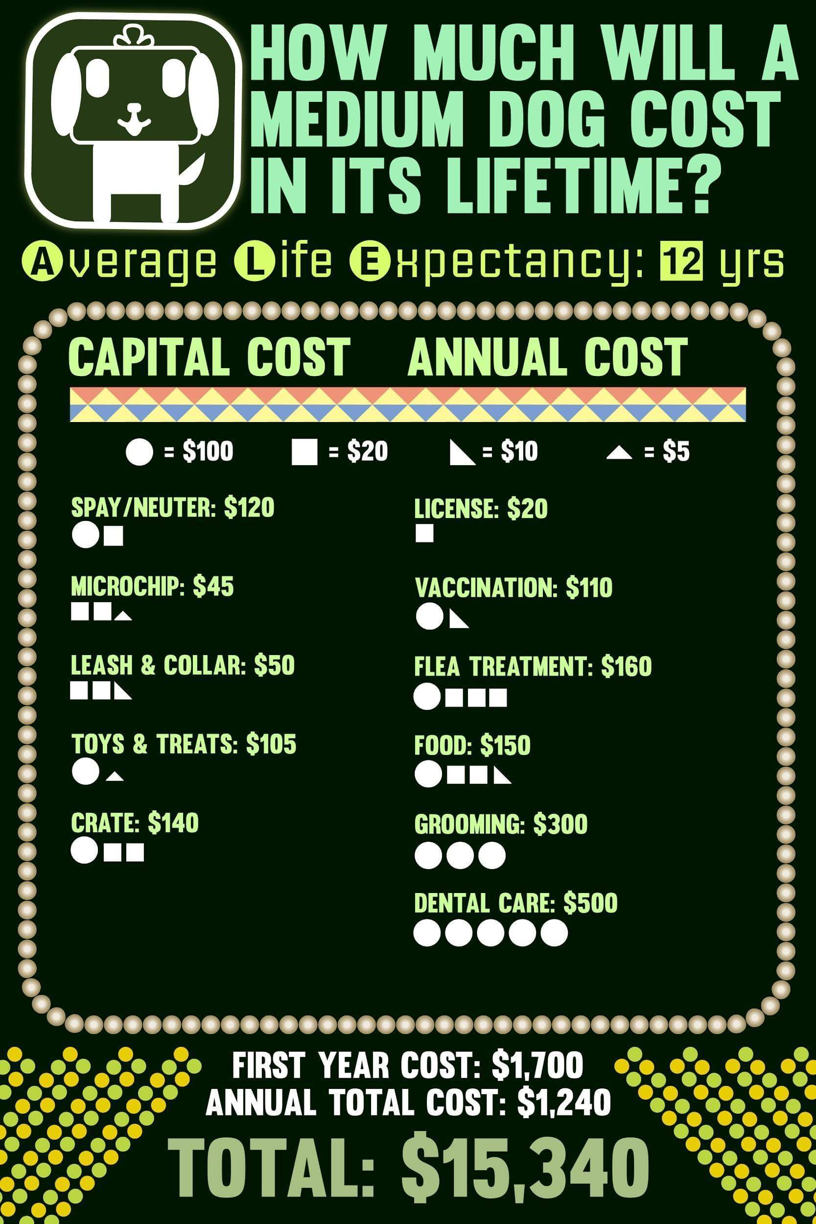 Lifetime cost of medium dogs