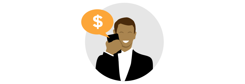 phone call about money icon