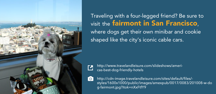 Traveling with a four-legged friend? Visit the Fairmont in San Francisco